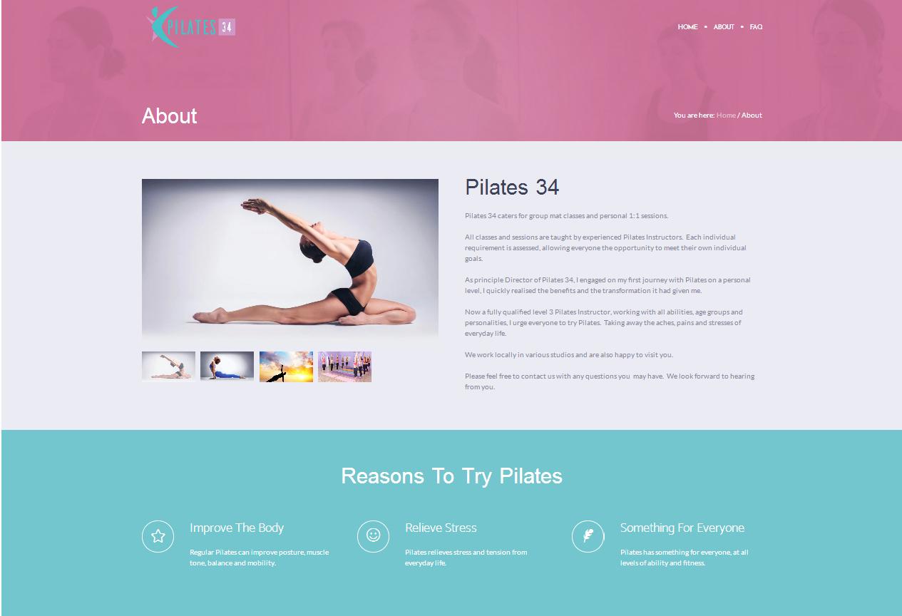 Pilates 34 website design by silvertoad